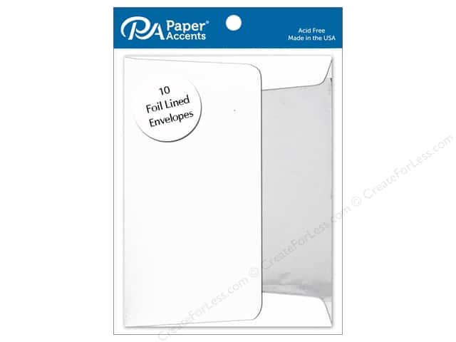 Paper Accents 4 1/4 x 5 1/2 in. Envelopes 10 pc. Silver Lined White