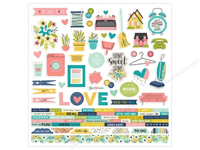 Simple Stories Collection Domestic Bliss Sticker Combo 12 in. x 12 in. (12 pieces)