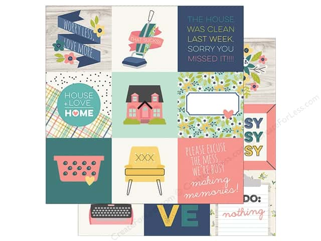 "Simple Stories Collection Domestic Bliss Paper 12""x 12"" Elements 4""x 4"" (25 pieces)"
