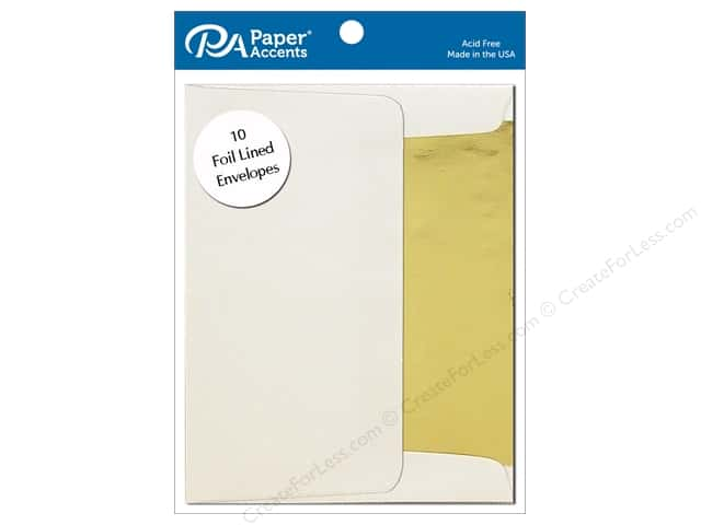 Paper Accents 5 x 7 in. Envelopes 10 pc. Gold Lined Cream