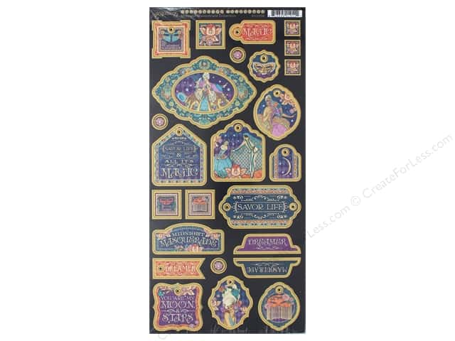 Graphic 45 Collection Midnight Masquerade Deco Chipboard