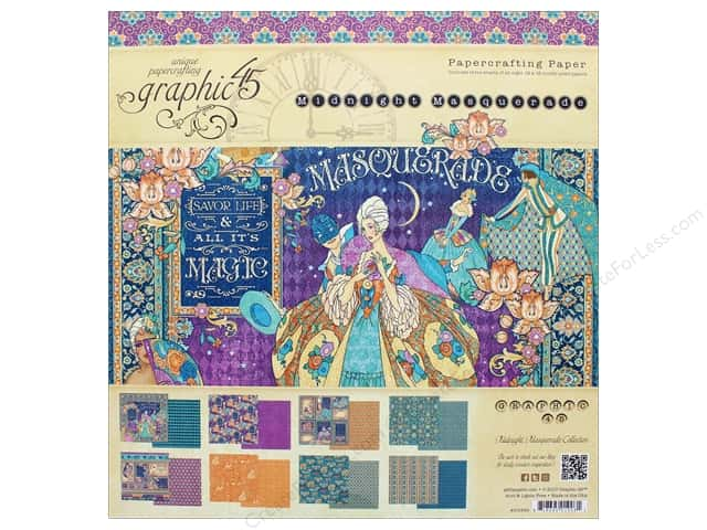 """Graphic 45 Collection Midnight Masquerade Paper Pad 12""""x 12"""""""