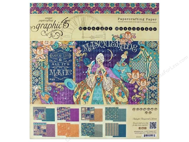 "Graphic 45 Collection Midnight Masquerade Paper Pad 8""x 8"""