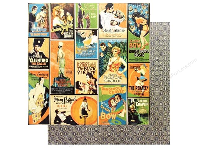 "Graphic 45 Collection Vintage Hollywood Paper 12""x 12"" Tinseltown (25 pieces)"