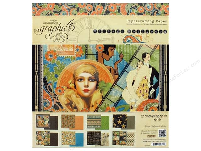 Graphic 45 Vintage Hollywood Paper Pad 8 in. x 8 in.