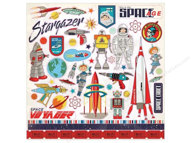 Carta Bella Collection Space Academy Sticker 12 in. x 12 in. Elements (15 pieces)