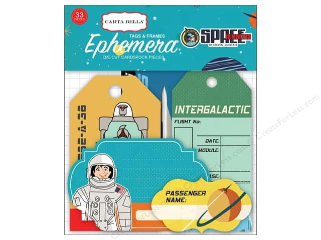 Carta Bella Collection Space Academy Ephemera Tags & Frames
