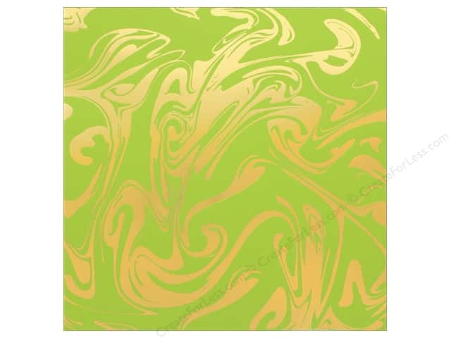 "Bazzill Paper 12""x 12"" Marble Foil Gold Easter Grass (12 pieces)"