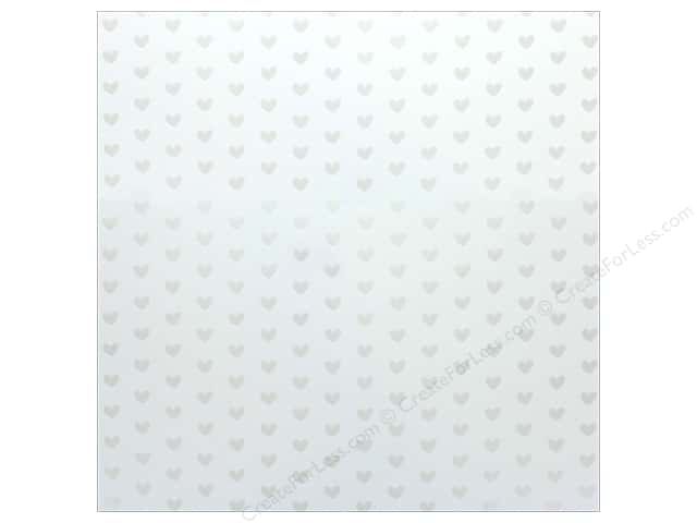 "Bazzill Paper 12""x 12"" Heart Foil Marshmallow White (12 pieces)"