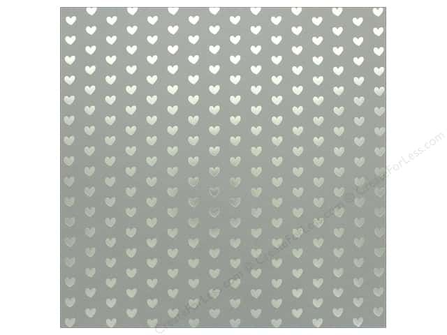 "Bazzill Paper 12""x 12"" Heart Foil Rock Candy Gray (12 pieces)"