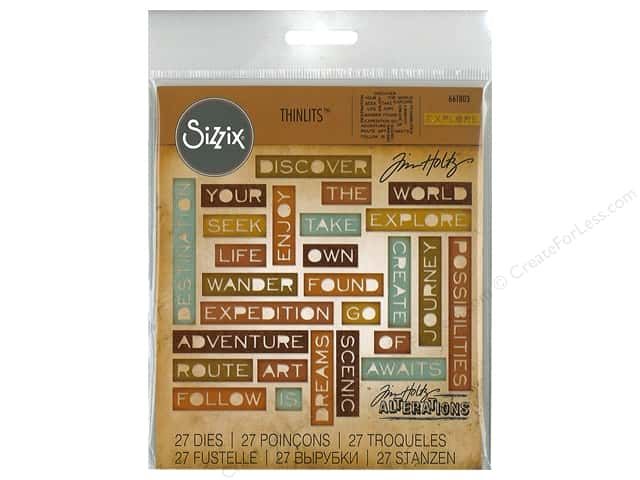 Sizzix Dies Tim Holtz Thinlits Traveler Words