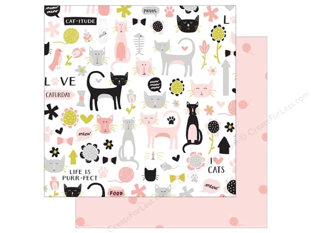 "My Mind's Eye Collection Meow Paper 12""x 12"" Cat-itude (25 pieces)"