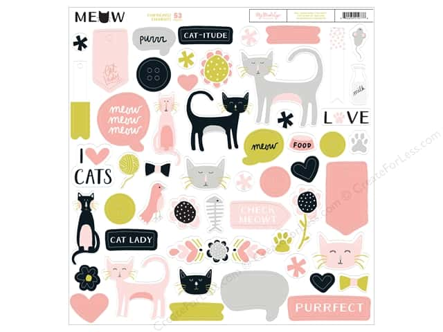 My Mind's Eye Collection Meow Chipboard Elements