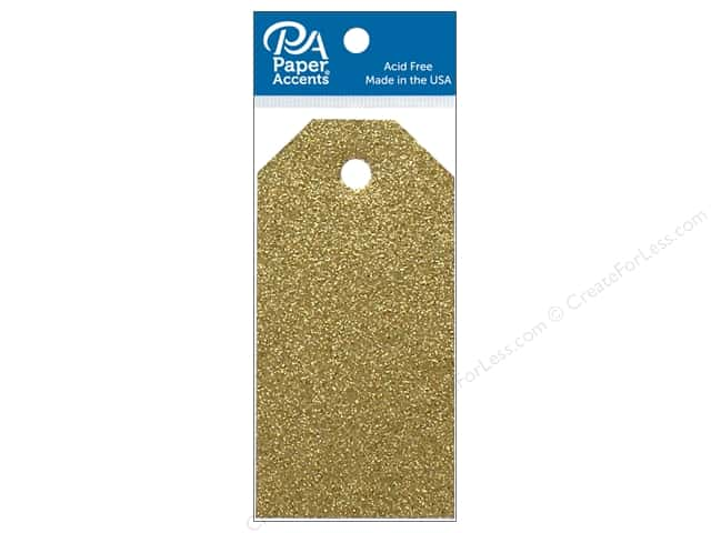 Paper Accents Craft Tags 1 5/8 x 3 1/4 in. 10 pc. Glitter Gold