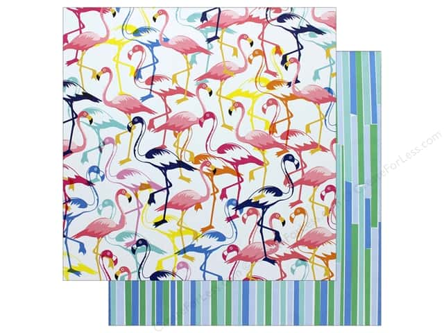 """AMC Collection On A Whim Amy Tangerine Paper 12""""x 12"""" Let's Flamingle (25 pieces)"""