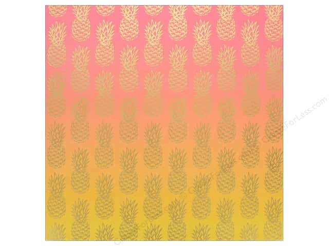 "AMC Collection On A Whim Amy Tangerine Paper 12""x 12"" Ombre Foil (15 pieces)"