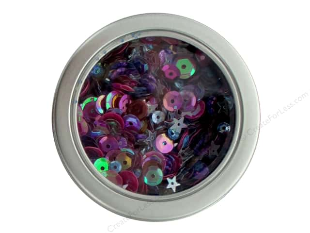 Buttons Galore 28 Lilac Lane Sequin Tin Mixed Berry