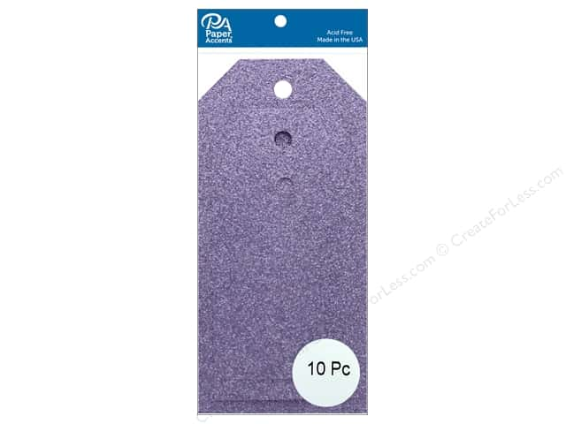 Paper Accents Craft Tags Assorted Sizes 10 pc. Glitter Lavender
