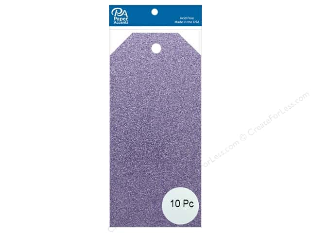 Paper Accents Craft Tags 2 1/2 x 5 1/4 in. 10 pc. Glitter Lavender