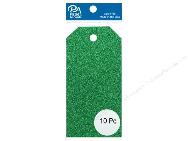 Paper Accents Craft Tags 2 1/8 x 4 1/4 in. 10 pc. Glitter Green