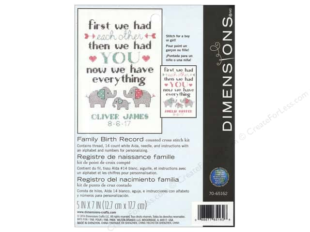 "Dimensions Cross Stitch Kit 5""x 7"" Family Birth Record"