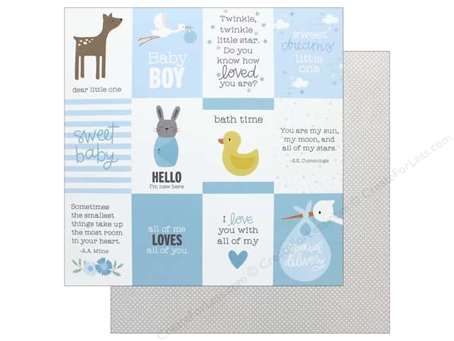 """Pebbles Collection Lullaby Paper 12""""x 12"""" Baby Boy Quotes (25 pieces)"""