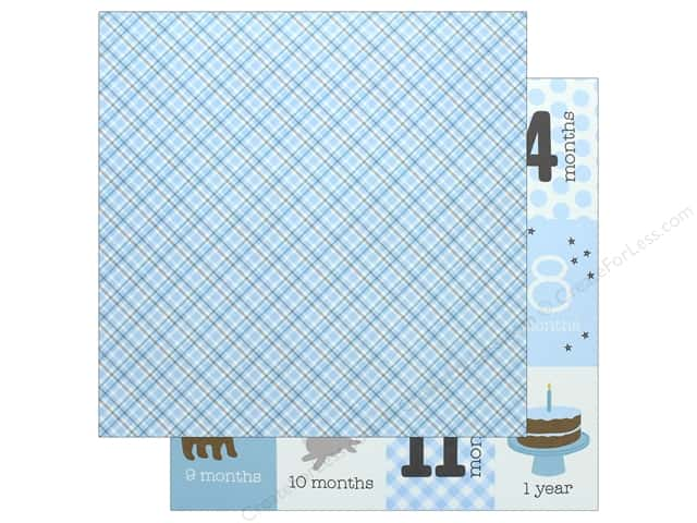 Pebbles Collection Lullaby Paper 12 in. x 12 in. Baby Boy Plaid