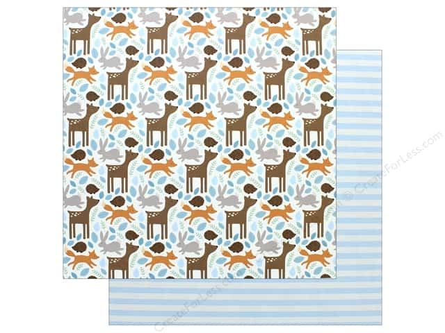 "Pebbles Collection Lullaby Paper 12""x 12"" Baby Boy Woodland"