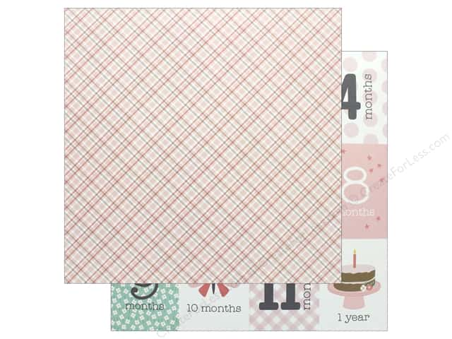 Pebbles Collection Lullaby Paper 12 in. x 12 in. Baby Girl Plaid