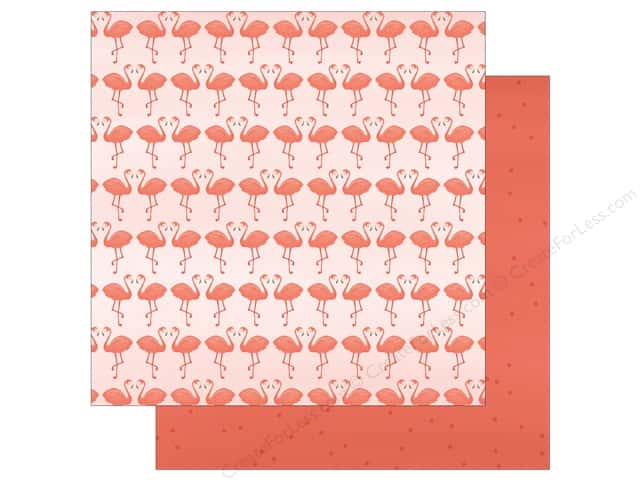 """My Mind's Eye Collection Palm Beach Paper 12""""x 12"""" Flamingos (25 pieces)"""