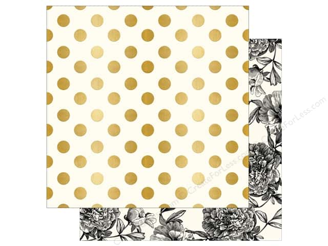 "My Mind's Eye Collection In Bloom Paper 12""x 12"" Gold Foil Modern Botanical (25 pieces)"