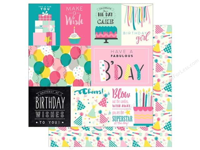 "Echo Park Collection Birthday Girl Paper 12""x 12"" Journal Card (15 pieces)"
