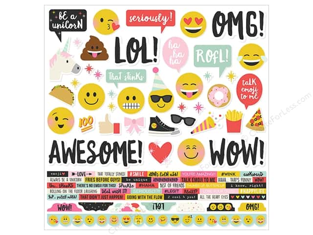 Simple Stories Collection Emoji Love Sticker Combo 12 in. x 12 in.