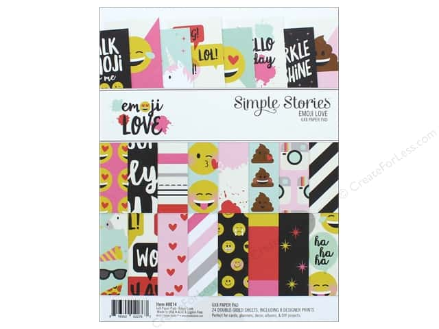 """Simple Stories Collection Emoji Love Paper Pad 6""""x 8"""""""