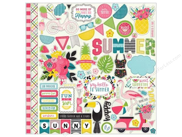 "Echo Park Collection Summer Fun Sticker 12""x 12"" Element (15 pieces)"