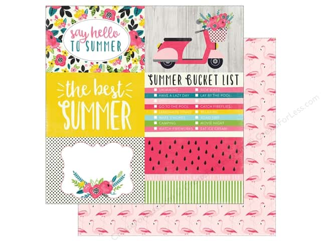 """Echo Park Collection Summer Fun Paper 12""""x 12"""" Journaling Cards 4""""x 6"""" (25 pieces)"""
