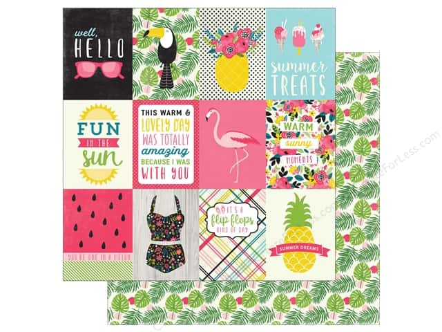 """Echo Park Collection Summer Fun Paper 12""""x 12"""" Journaling Cards 3""""x 4"""" (25 pieces)"""