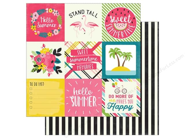 "Echo Park Collection Summer Fun Paper 12""x 12"" Journaling Cards 4""x 4"" (25 pieces)"