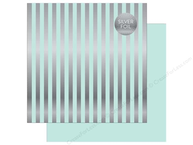 "Echo Park Collection Dots & Stripes Silver Foil Stripe Paper 12""x 12"" Light Mint (25 pieces)"