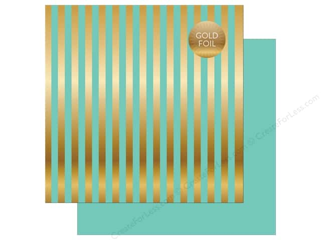 "Echo Park Collection Dots & Stripes Gold Foil Stripe Paper 12""x 12"" Mint (25 pieces)"