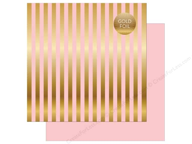 "Echo Park Collection Dots & Stripes Gold Foil Stripe Paper 12""x 12"" Light Pink (25 pieces)"