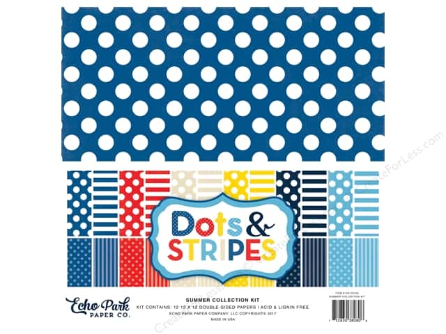 "Echo Park Collection Dots & Stripes Summer Collection Kit 12""x 12"""