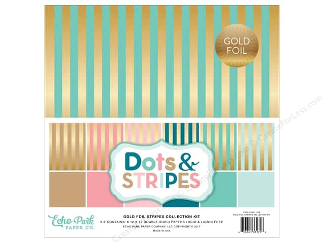 "Echo Park Collection Dots & Stripes Gold Foil Stripe Paper 12""x 12"" Collection Kit"