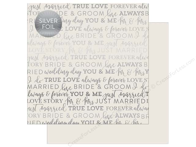 "Carta Bella Collection Love Paper 12""x 12"" Foil Grey (25 pieces)"