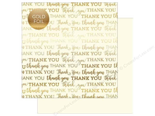 "Carta Bella Collection Thank You Paper 12""x 12"" Foil Cream (25 pieces)"