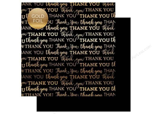 "Carta Bella Collection Thank You Paper 12""x 12"" Foil Black (25 pieces)"
