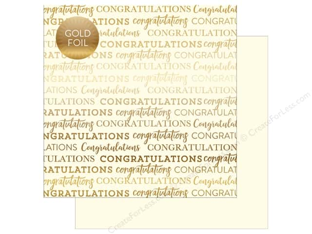 "Carta Bella Collection Congratulations Paper 12""x 12"" Foil Cream (25 pieces)"