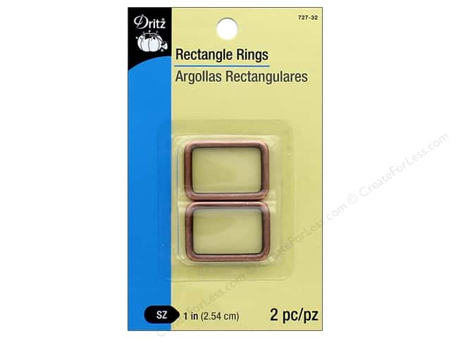 Dritz Rectangle Rings 1 in. 2 pc. Copper