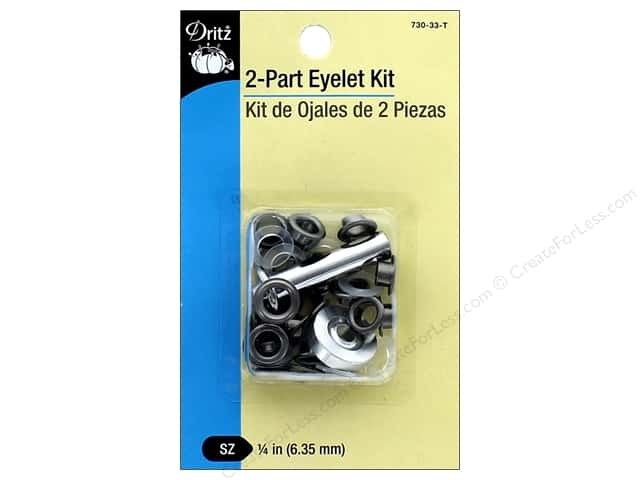 Dritz 2-Part Eyelet Kit 15 pc. Gunmetal with Tool