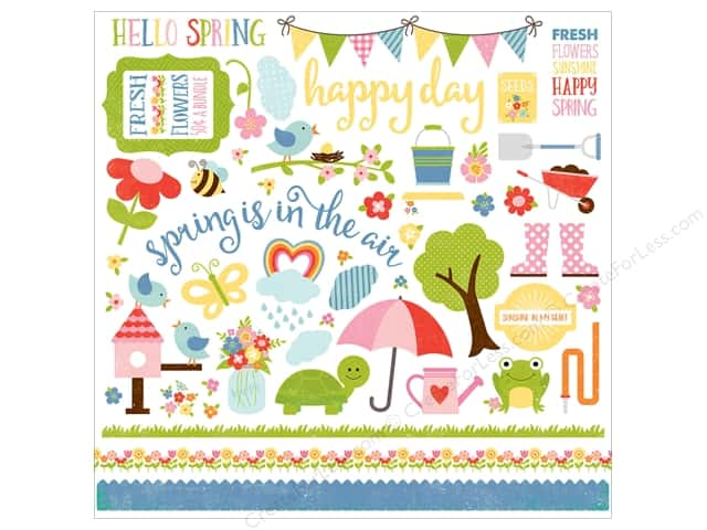 "Echo Park Collection Celebrate Spring Sticker Element 12""x 12"" (15 pieces)"